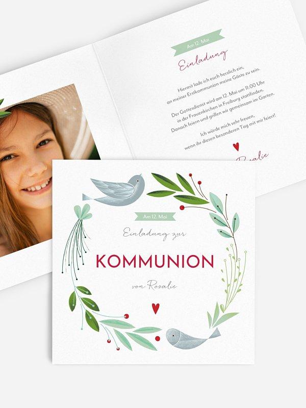 Kommunionseinladung Vogelnest