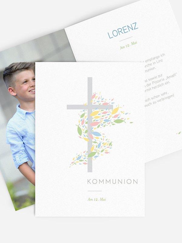 Kommunionseinladung Glücksschwarm