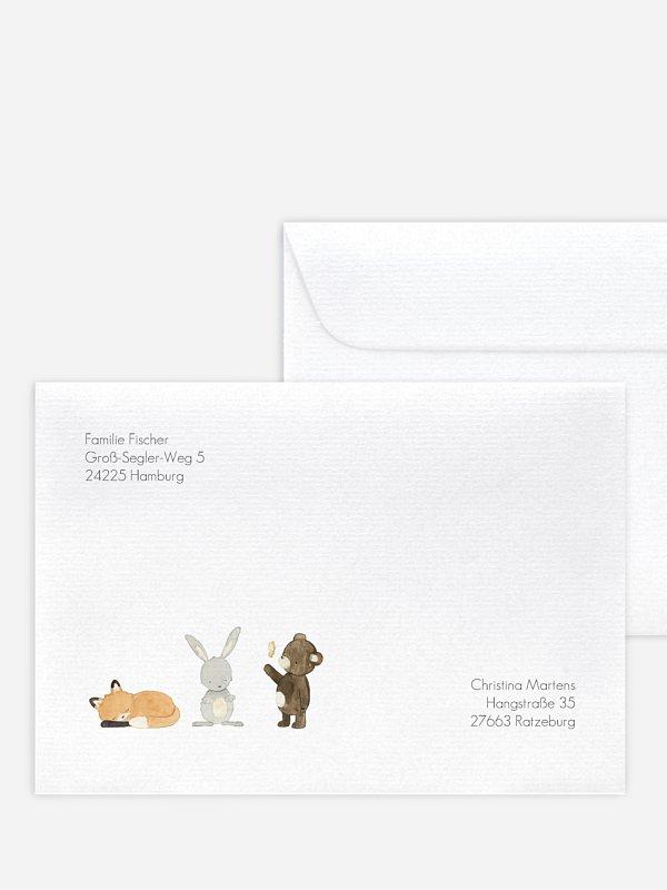 Bedruckte Umschläge Geburt Tierchen Trio