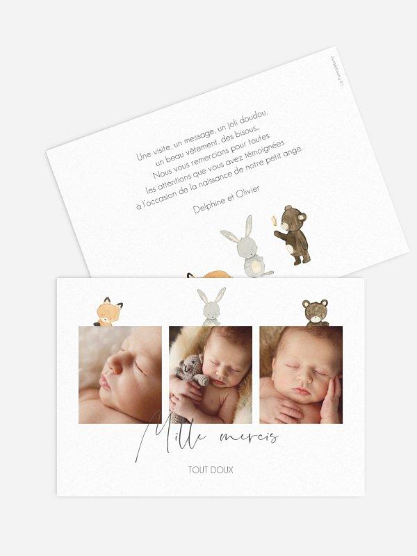 Carte remerciement naissance Trio animaux