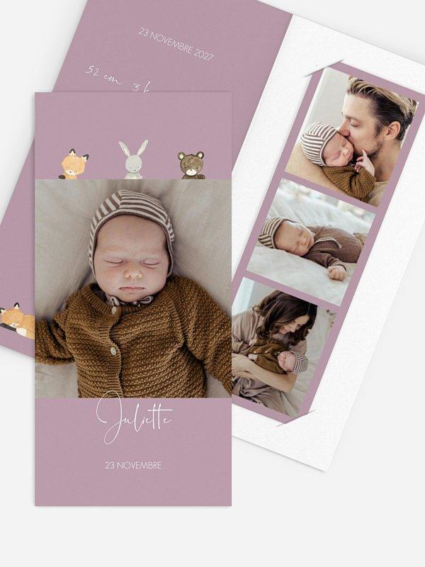 Faire-part naissance Trio animaux