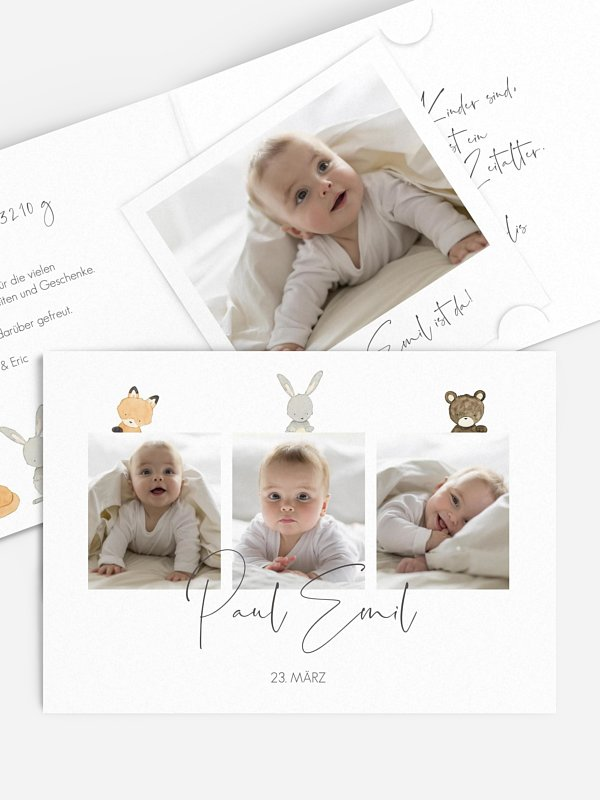 Geburtskarte Tierchen Trio