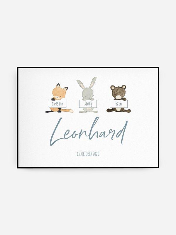 Poster Geburt Tierchen Trio