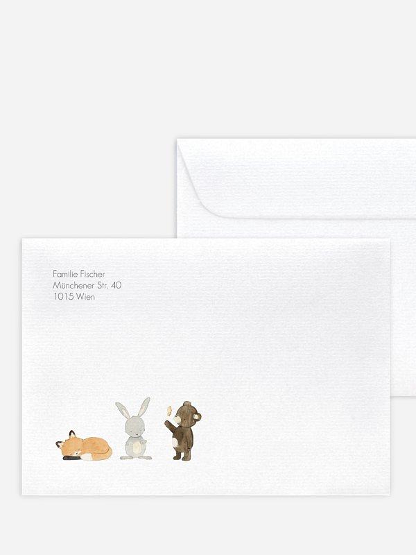Briefumschlag mit Motiv Tierchen Trio