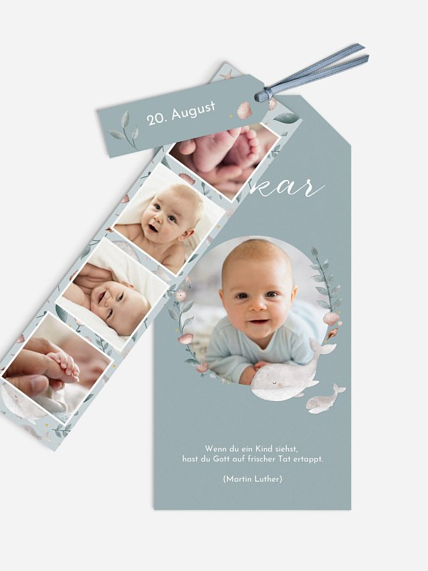 Geburtskarte Walfamilie