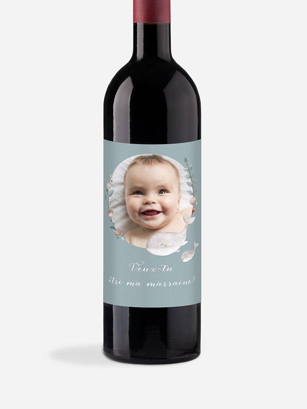 Étiquette bouteille Jolies baleines