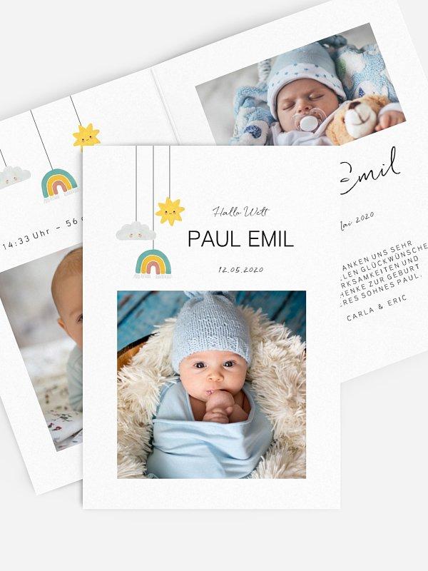 Geburtskarte Himmelstrio Foto