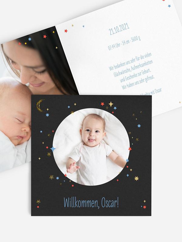 Geburtskarte Colorful Stars