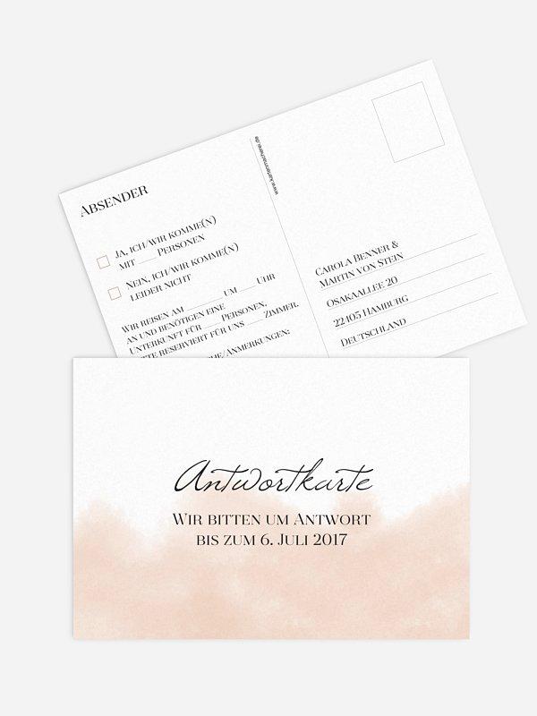 Antwortkarte Hochzeit Soft Aquarelle