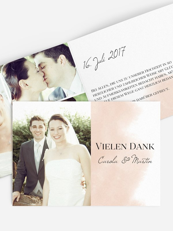 Dankeskarte Hochzeit Soft Aquarelle