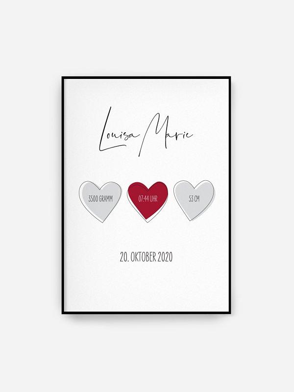 Poster Geburt Herzchen Trio
