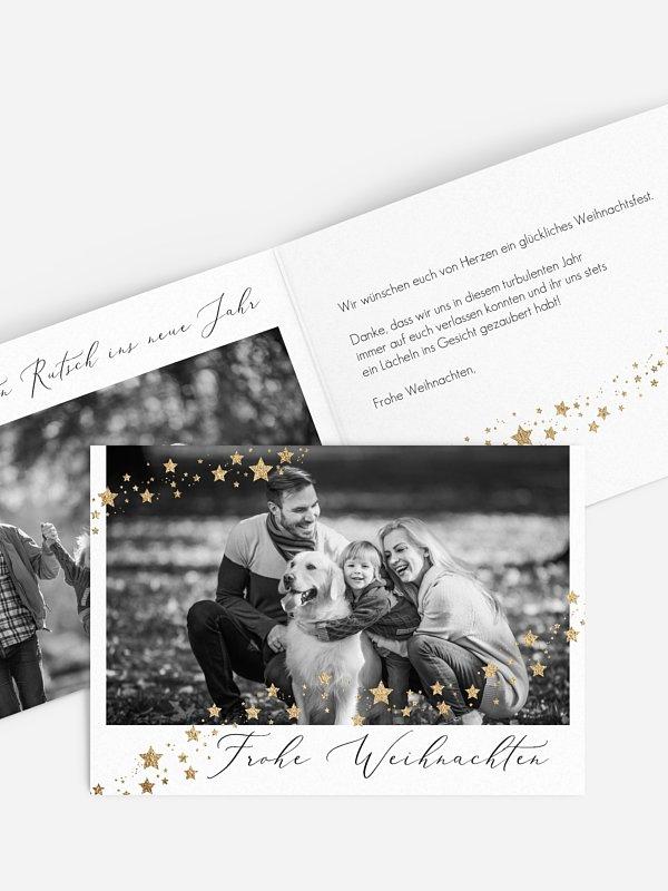 Weihnachtskarte Sternchenband