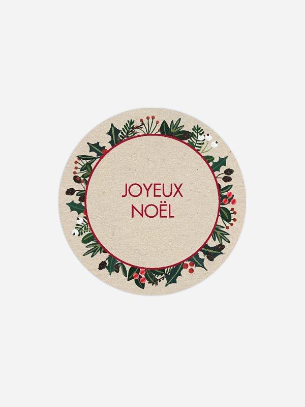 Étiquette cadeau Noël Houx du bonheur