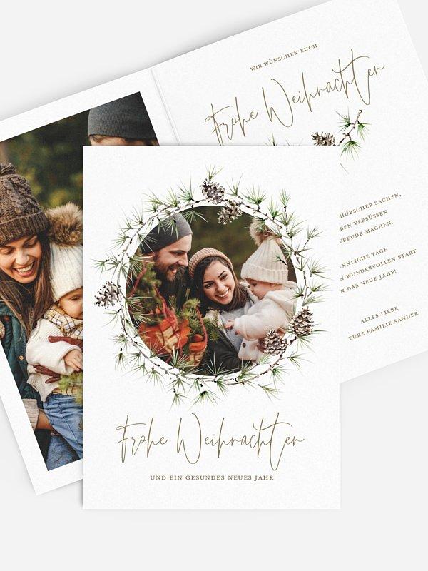 Weihnachtskarte Larch Wreath