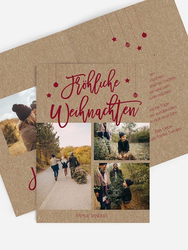 Weihnachtskarte Happy Christmas Kraftpapier