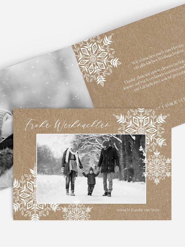 Weihnachtskarte Soft Snowflake Kraftpapier