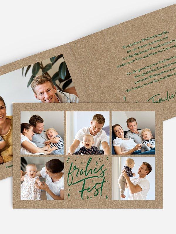 Weihnachtskarte Wundervolle Zeit Kraftpapier