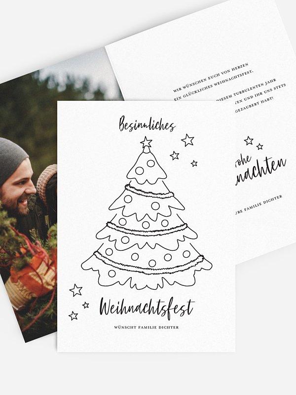 """weihnachtskarte """"weihnachtsbaum ausmalen"""""""