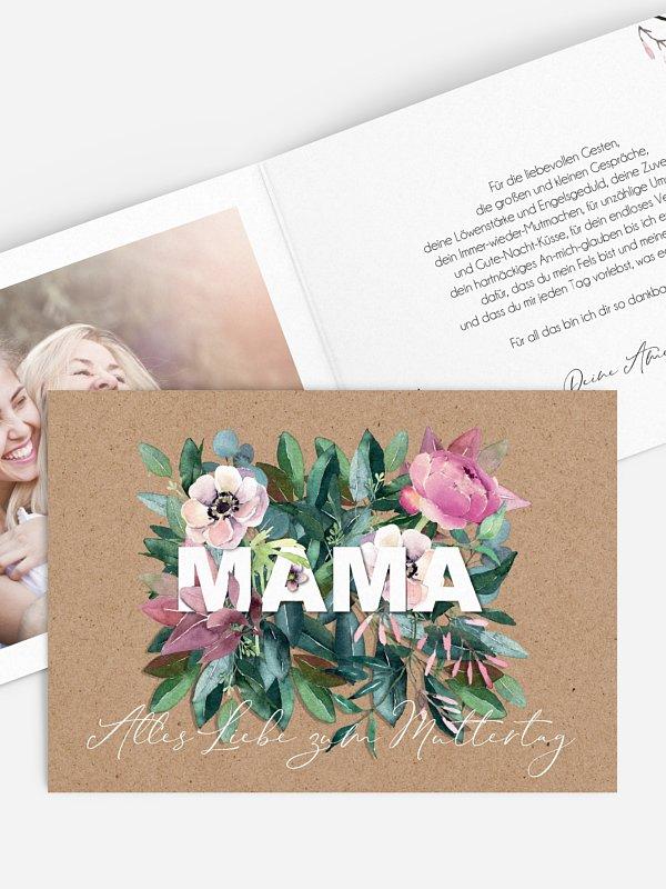Grußkarte Blumen für Mama