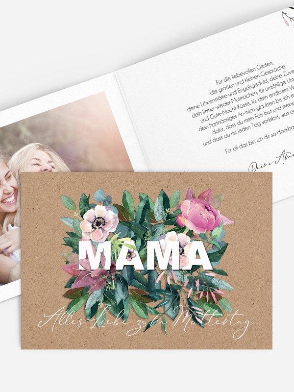 Trockenblumen mit Karte Blumen für Mama