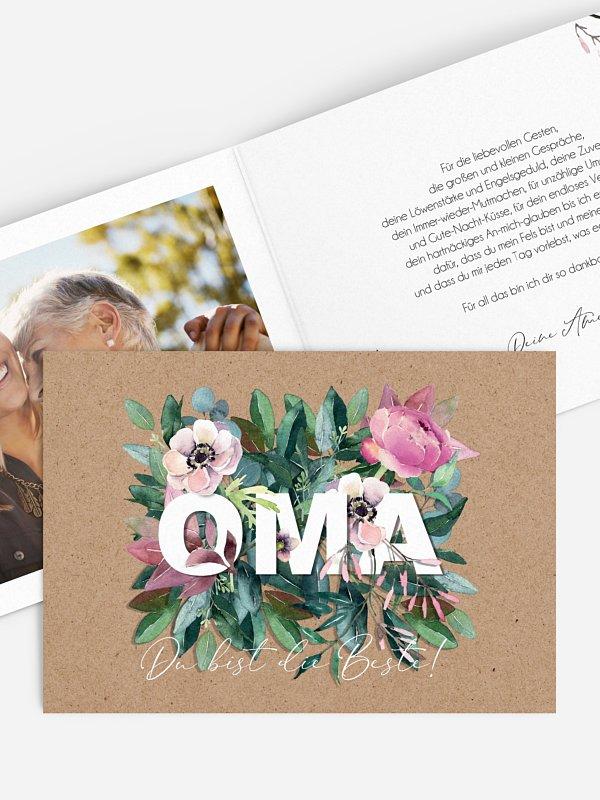 Grußkarte Blumen für Oma