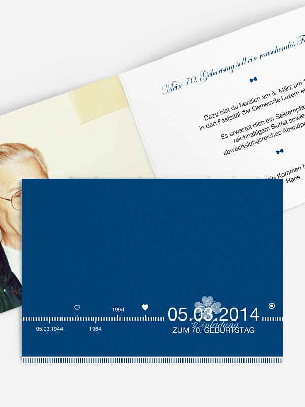 Einladung 70. Geburtstag Timeline