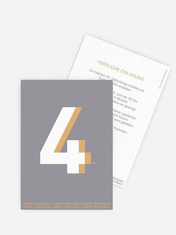 Einladung 40. Geburtstag Zahl
