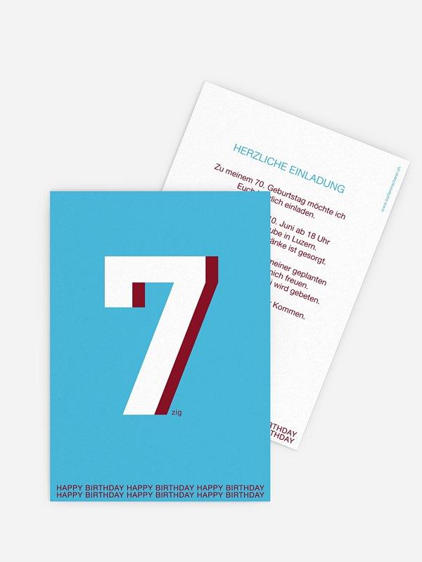 Einladung 70. Geburtstag Zahl
