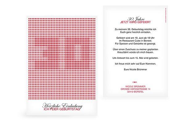 Einladung 30. Geburtstag Dots