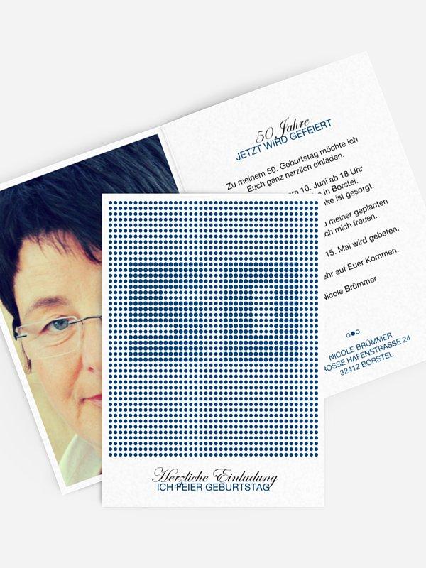Einladung 50. Geburtstag Dots