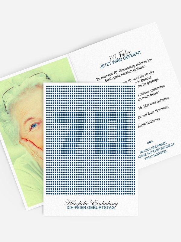 Einladung 70. Geburtstag Dots