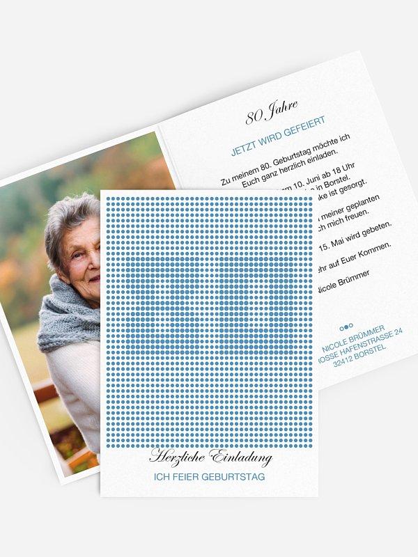 Einladung 80. Geburtstag Dots