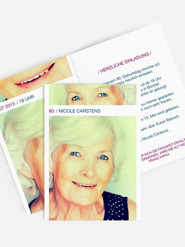 Einladung 80. Geburtstag Fotostreifen