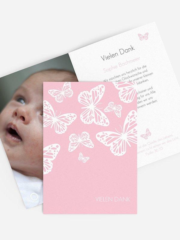 Dankeskarte Taufe Schmetterlingszauber