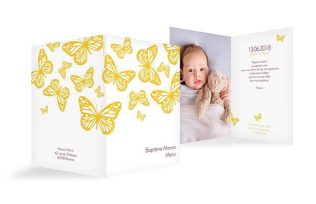 Carte remerciement baptême Vol de papillons