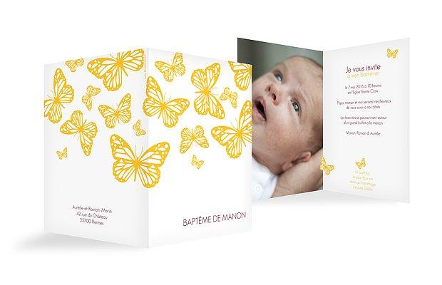 Faire-part baptême Vol de papillons
