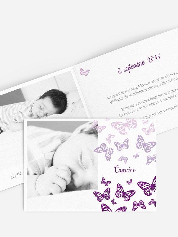 Faire-part naissance Vol de papillons