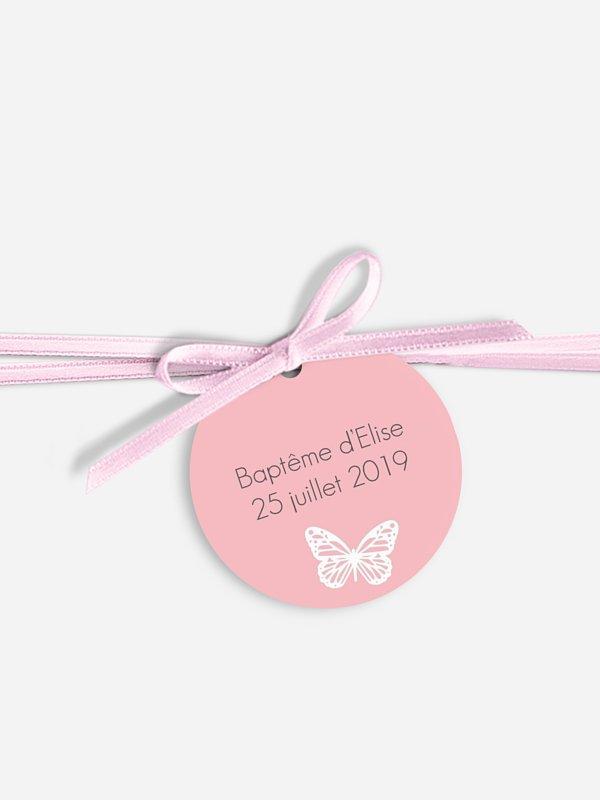 Étiquette avec ruban baptême Vol de papillons