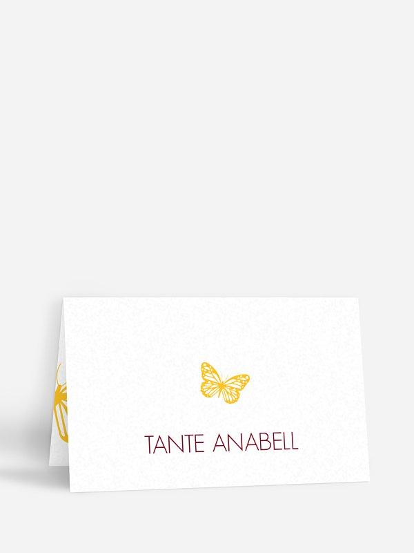 Tischkarte Taufe Schmetterlingszauber