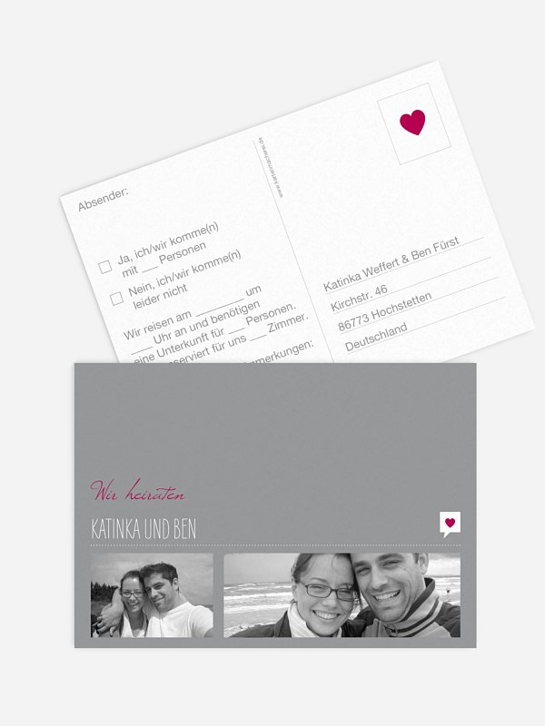 Antwortkarte Hochzeit Fotolinie