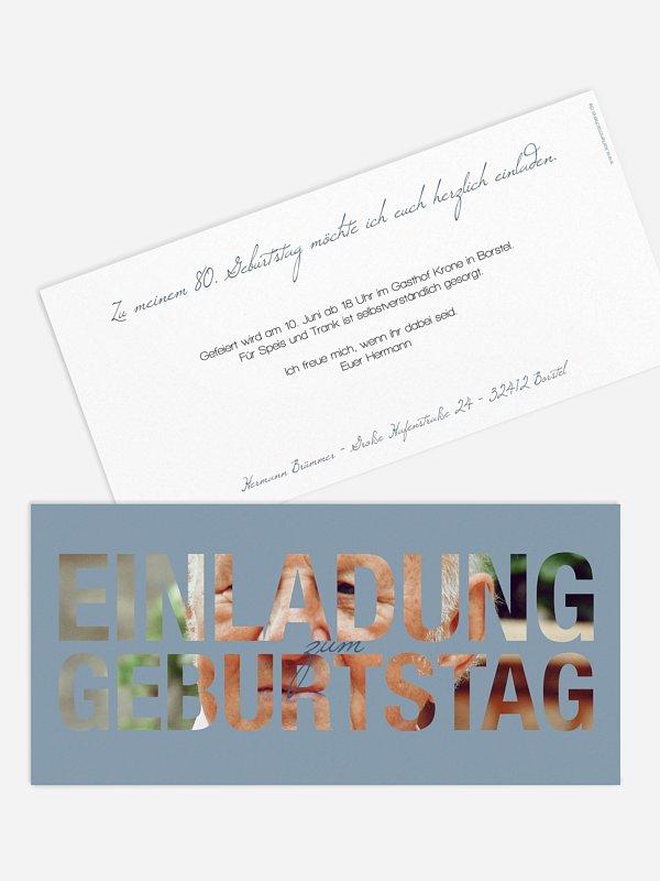 Einladung 80. Geburtstag Durchblick