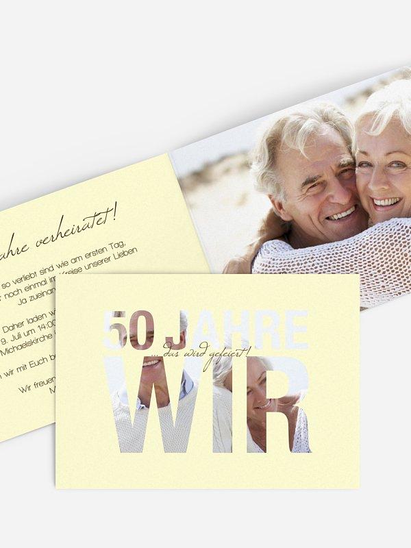 Einladung zur Goldenen Hochzeit Durchblick