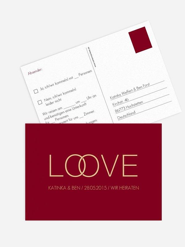 Antwortkarte Hochzeit Trauringe