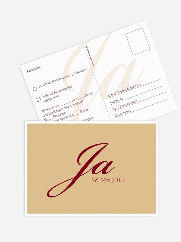 Antwortkarte Hochzeit Jawort