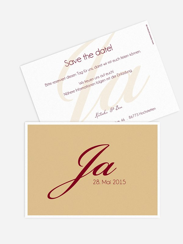 Save-the-Date Karte Jawort