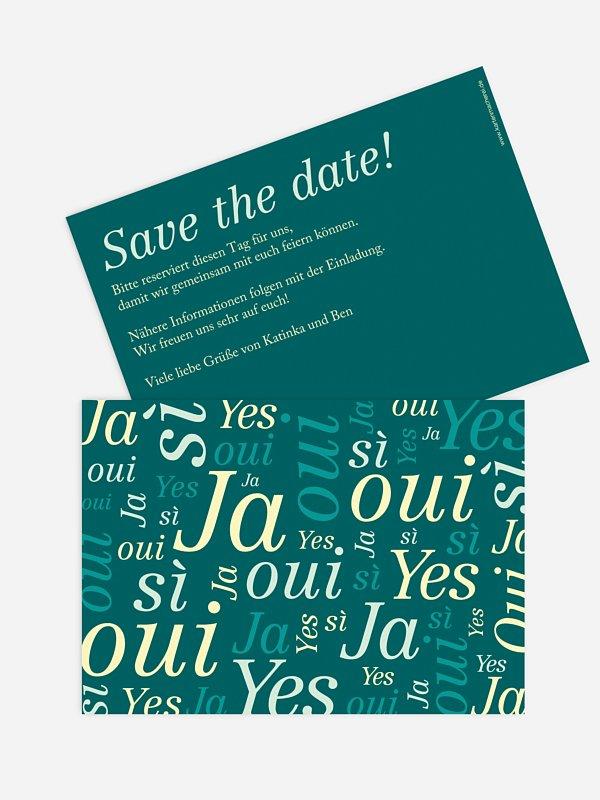 Save-the-Date Karte Sag Ja