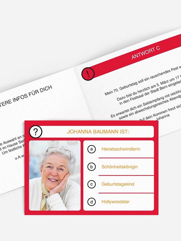 Einladung 70. Geburtstag Quizfrage