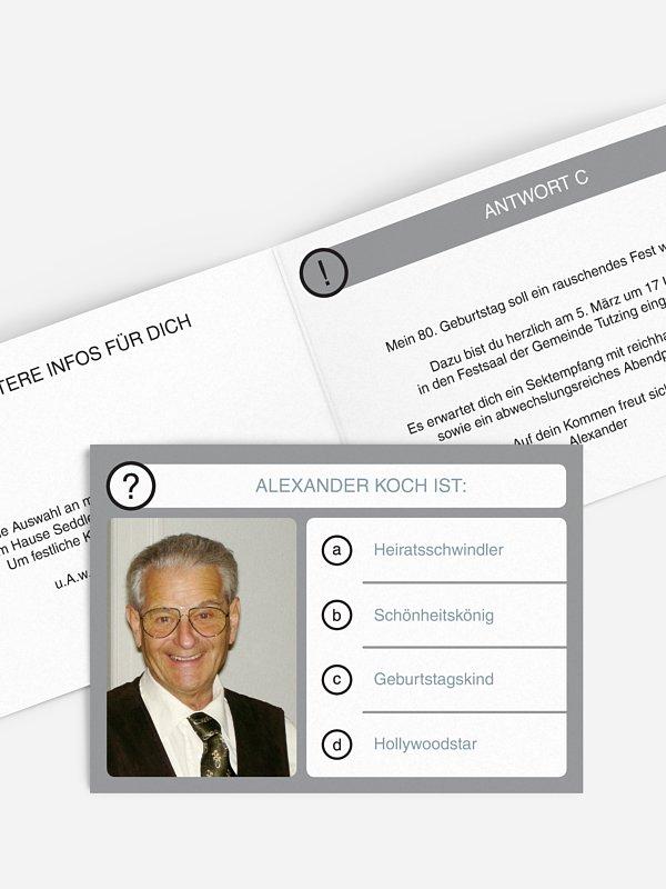 Einladung 80. Geburtstag Quizfrage