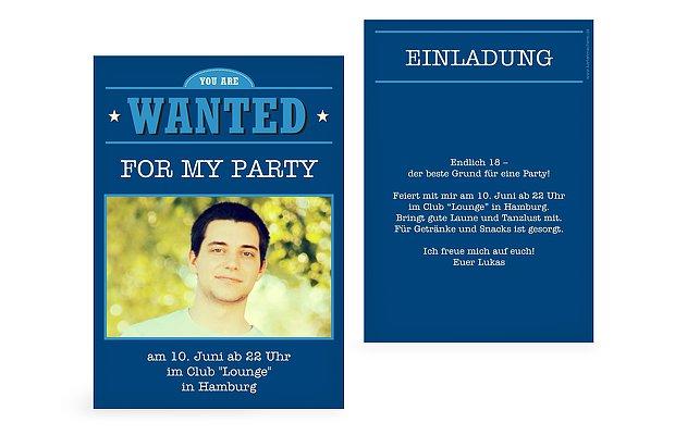 """einladung 18. geburtstag """"wanted"""", Einladungsentwurf"""