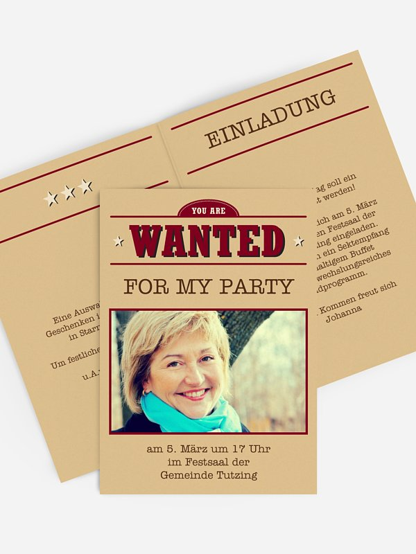 Einladung 50. Geburtstag Wanted